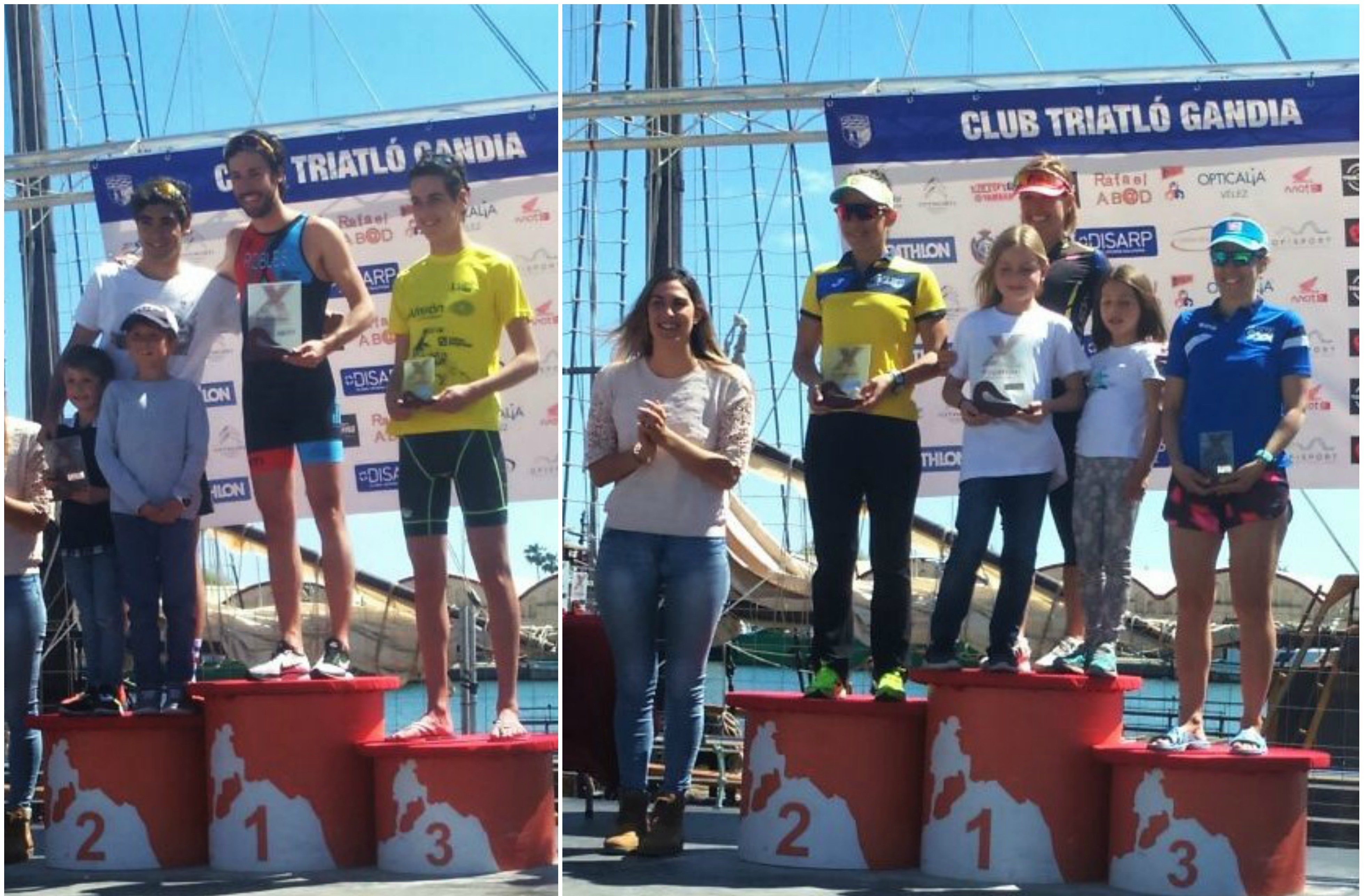 Héctor Pardo (U23), bronze, a l'esquerra. A la dreta Silvia Valero i Sara Molina, primera i segona, respectivament, en la categoria de Veteranes 1, al triatló de diumenge.