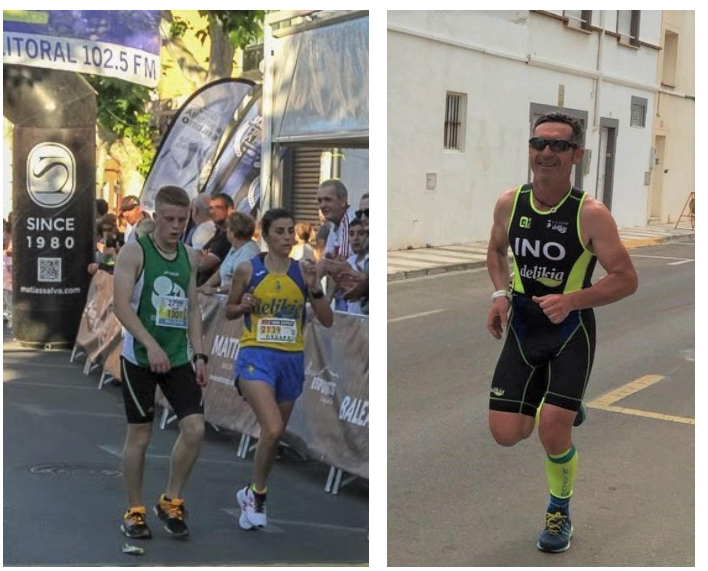 Mónica Mahiques a Ondara. (Foto: Kike Aracil) / A la dreta, Ino Moreno, un dels participants en el Triatló 113MD d'Oliva.