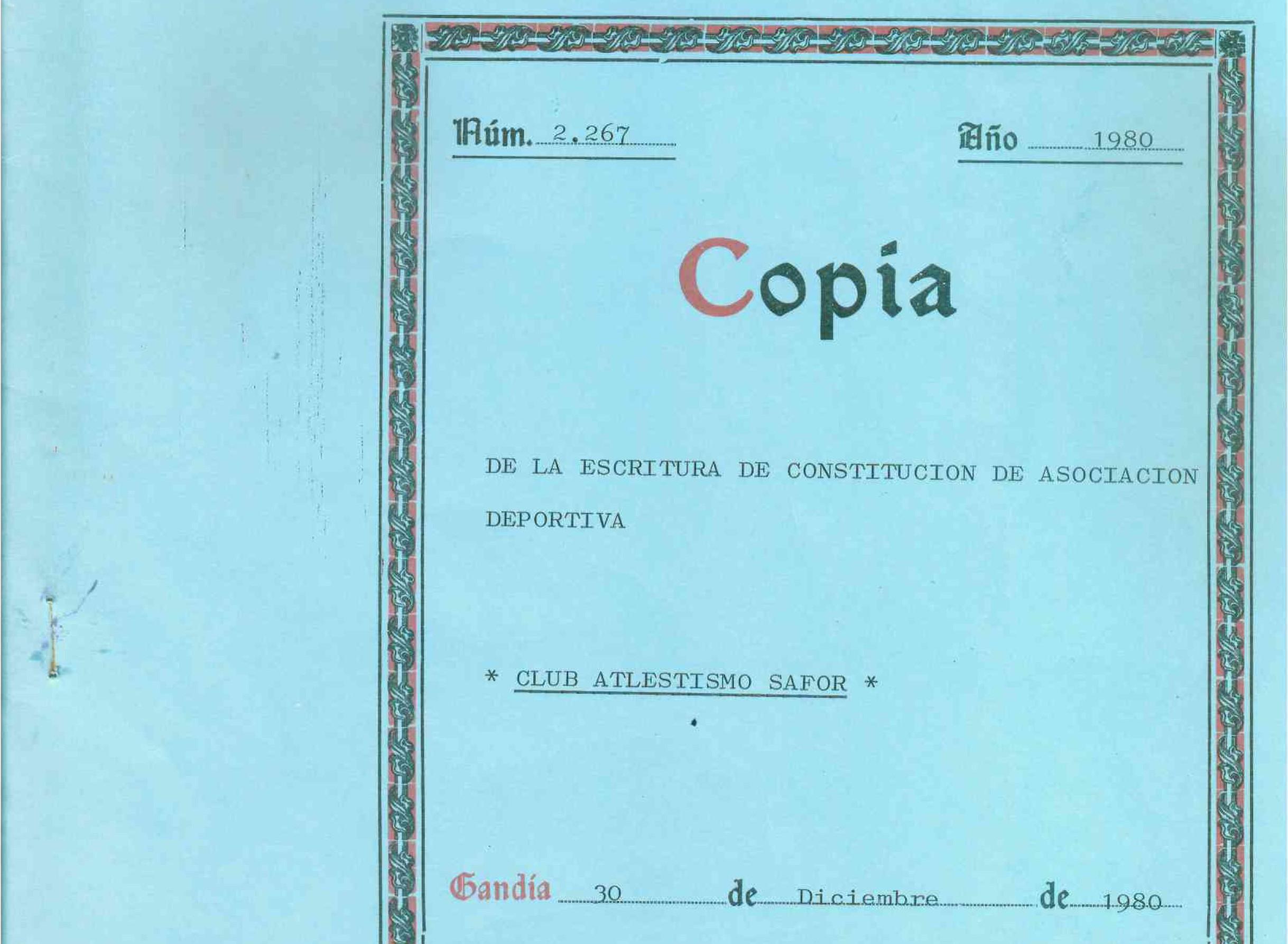 L'escriptura fundacional del Club d'Atletisme Safor
