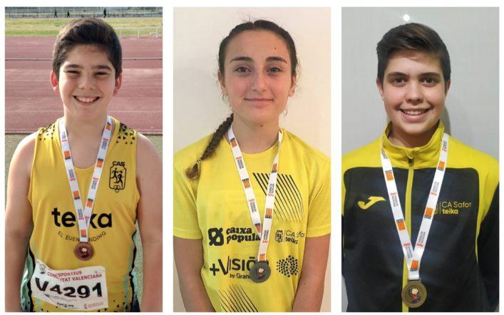 Tres medalles en el campionat autonòmic de llançaments llargs d'hivern