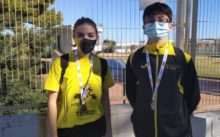 Plates en javelina per a Nerea Valera i Adrián Pérez en el provincial escolar de llançaments llargs d'hivern